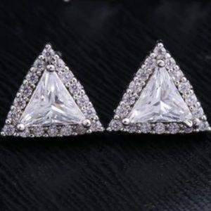Silver Triangle Diamond Halo Stud Earrings